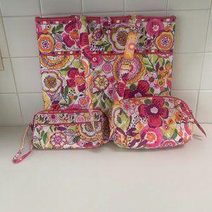 VERA BRADLEY Clementine Tote Bag Wallet Set VGUC